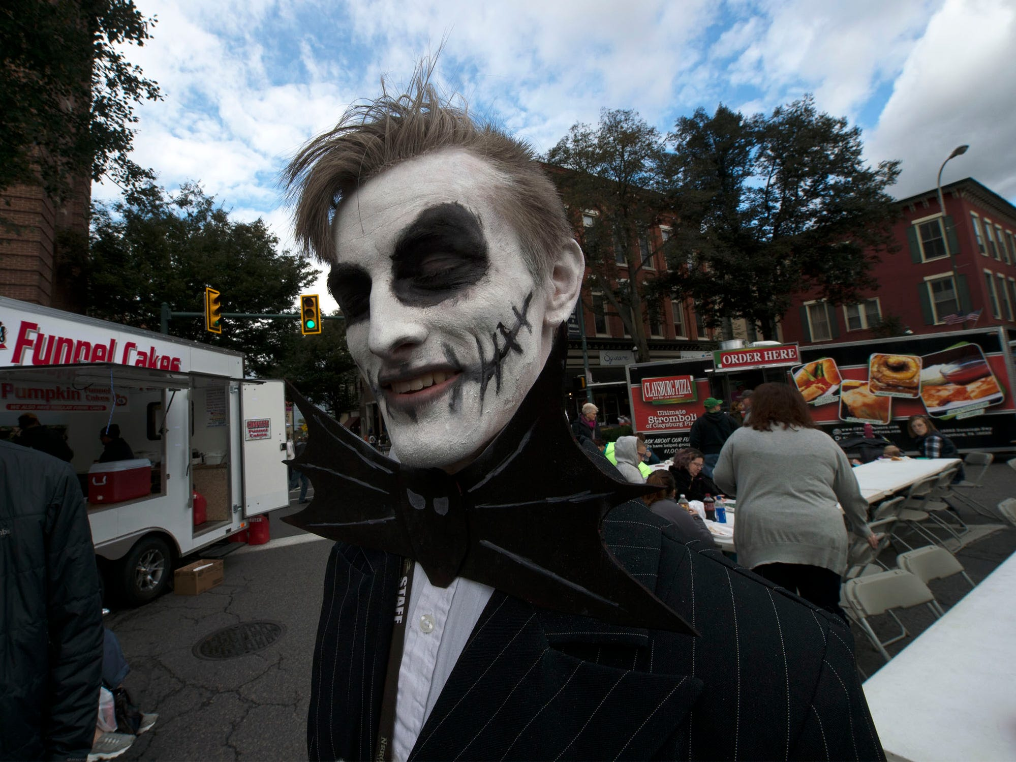 "David Hewitt is dressed as Jack Skillington from the film ""The Nightmare Before Christmas."" Applefest started Saturday morning October 20, 2018 in downtown Chambersburg."