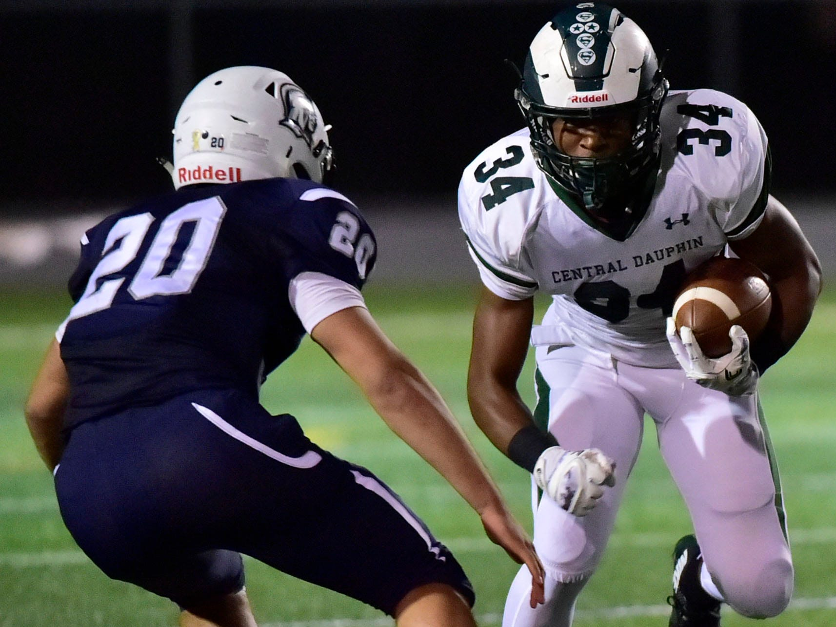 Central Dauphin's Timmy Smith runs the ball for the Rams. Chambersburg lost to Central Dauphin 35-14 in PIAA football on Friday, Oct. 19, 2018.