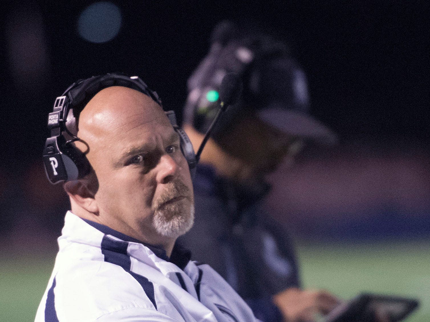 Mark Luther coaches the Chamberbsurg Trojans. Chambersburg lost to Central Dauphin in PIAA football on Friday, Oct. 19, 2018.