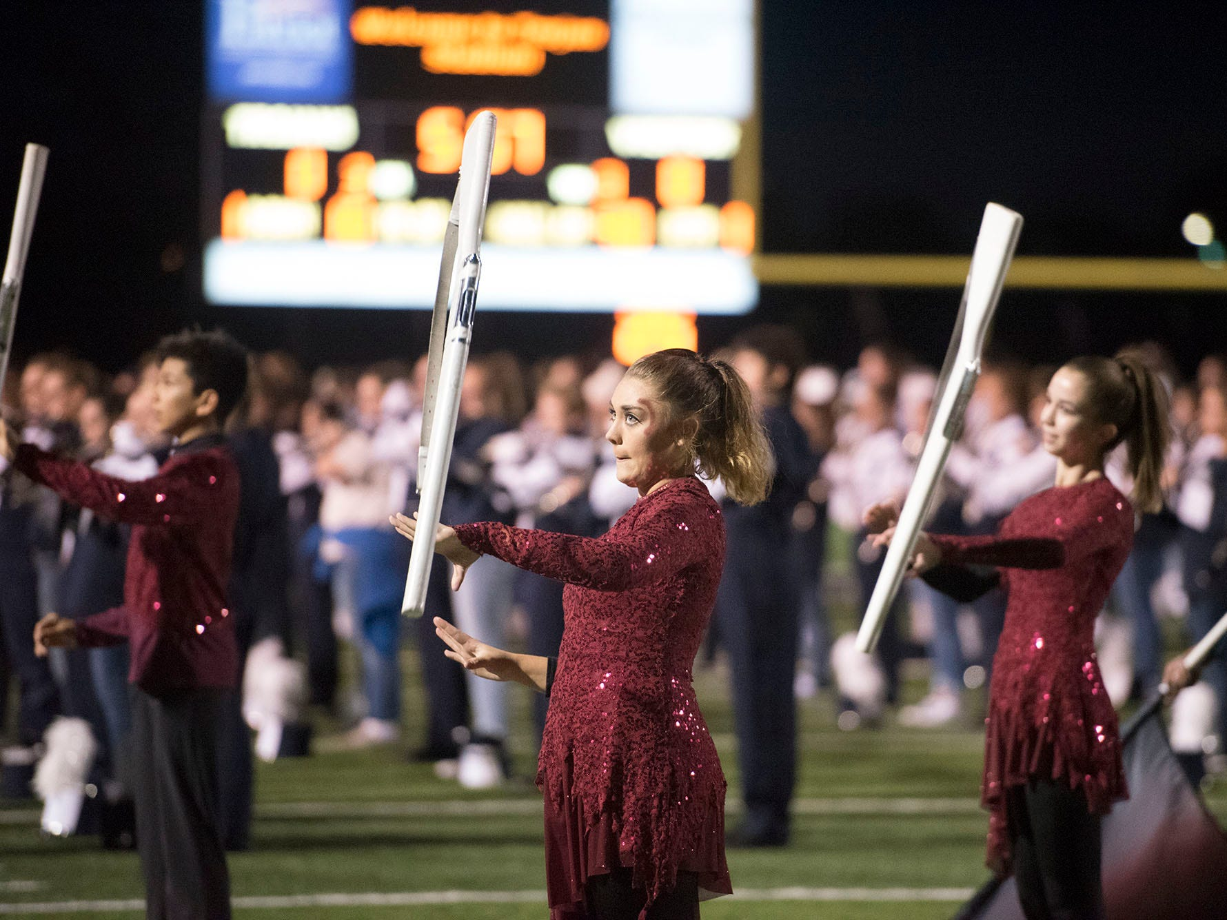 Trojan Marching Band members perform. Chambersburg lost to Central Dauphin 35-14 in PIAA football on Friday, Oct. 19, 2018.