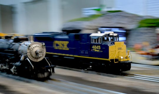 Trains make the rounds at the Kids Run Trains display during the York Train Show at the York Fairgrounds Saturday, October 20, 2018. The event was sponsored by the Eastern Division of the Train Collectors Association. Bill Kalina photo
