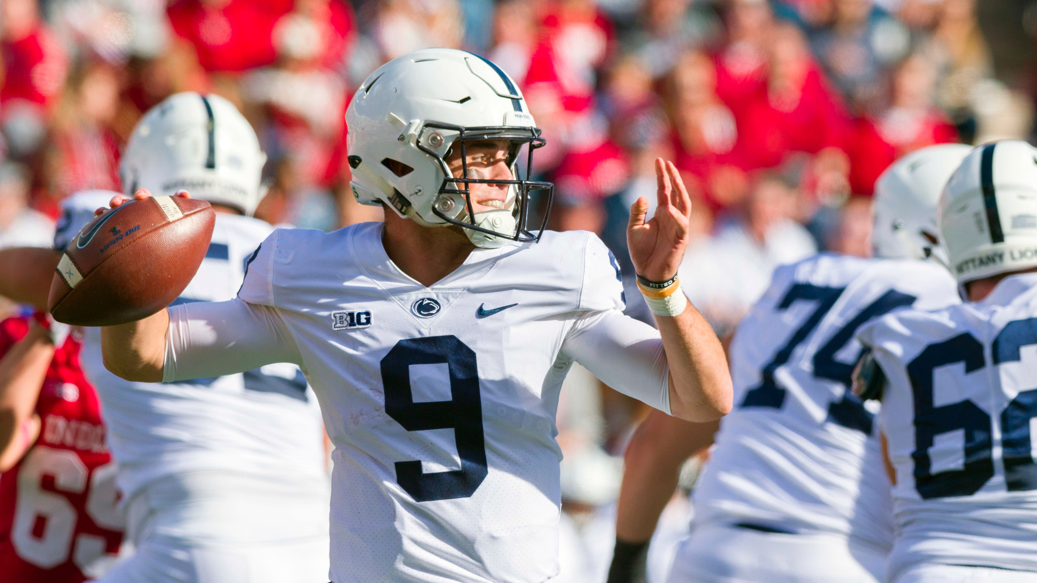 Penn State quarterback Trace McSorley (9) draws back to pass out of the backfield during the first half of an NCAA college football game against Indiana Saturday, Oct. 20, 2018, in Bloomington, Ind.
