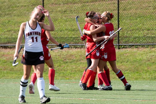Bermudian Springs' Skyler West (4) celebrates with teammates after her overtime winning goal, Saturday, Oct. 20, 2018. The Bermudian Springs Eagles made a big comeback to beat the Central York Panthers in overtime, 3-2, earning the YAIAA championship. Saturday, Oct. 20, 2018. The Bermudian Springs Eagles made a big comeback to beat the Central York Panthers in overtime, 3-2, earning the YAIAA championship.