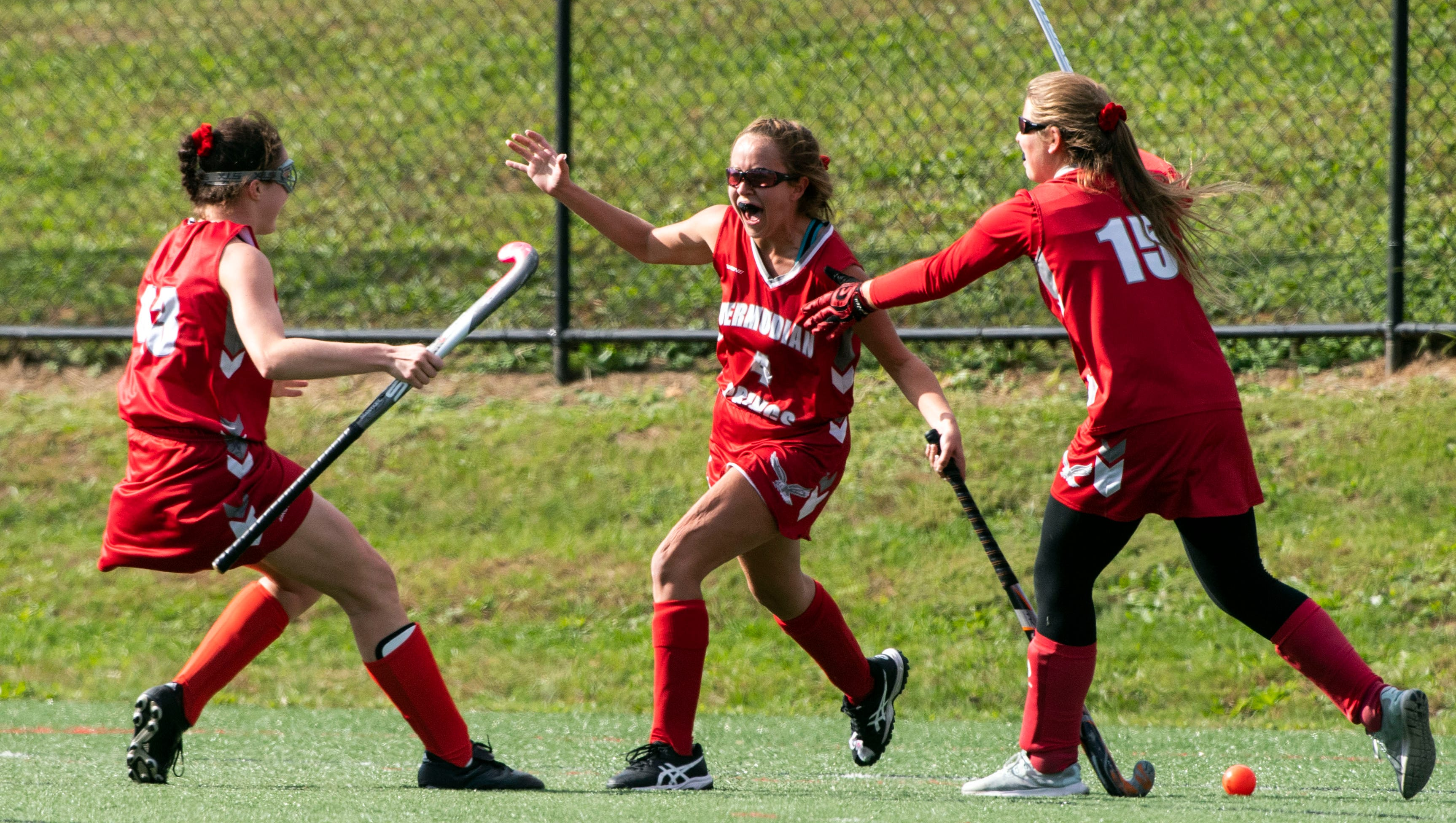 Bermudian Springs' Skyler West (4) celebrates her overtime winning goal with teammates, Saturday, Oct. 20, 2018. The Bermudian Springs Eagles made a big comeback to beat the Central York Panthers in overtime, 3-2, earning the YAIAA championship. Saturday, Oct. 20, 2018. The Bermudian Springs Eagles made a big comeback to beat the Central York Panthers in overtime, 3-2, earning the YAIAA championship.