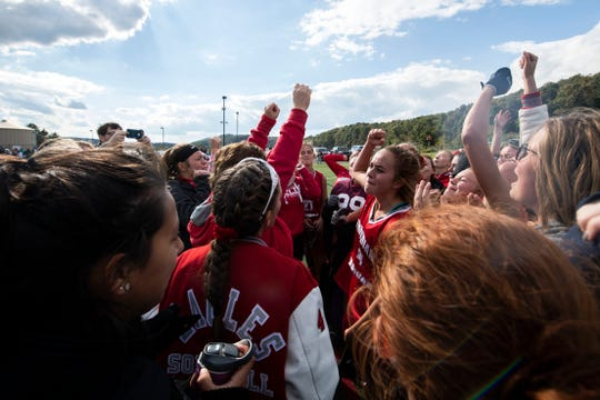 Bermudian Springs' Skyler West (4), center, cheers with her team after she scored the game-winning goal in overtime, Saturday, Oct. 20, 2018. The Bermudian Springs Eagles made a big comeback to beat the Central York Panthers in overtime, 3-2, earning the YAIAA championship. Saturday, Oct. 20, 2018. The Bermudian Springs Eagles made a big comeback to beat the Central York Panthers in overtime, 3-2, earning the YAIAA championship.