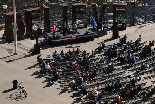 People attend the RenoElections.org public debate at City Plaza in Reno on Oct. 20, 2018.