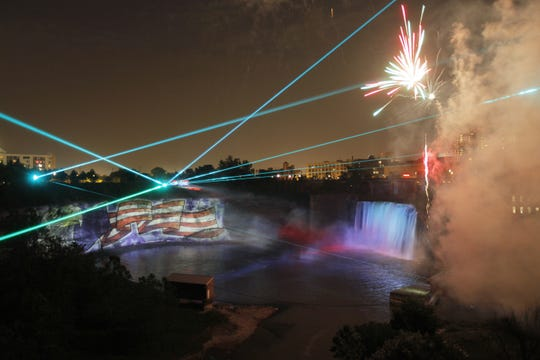 Laser show at High Falls in Rochester, N.Y. on Saturday, June 26 2010.