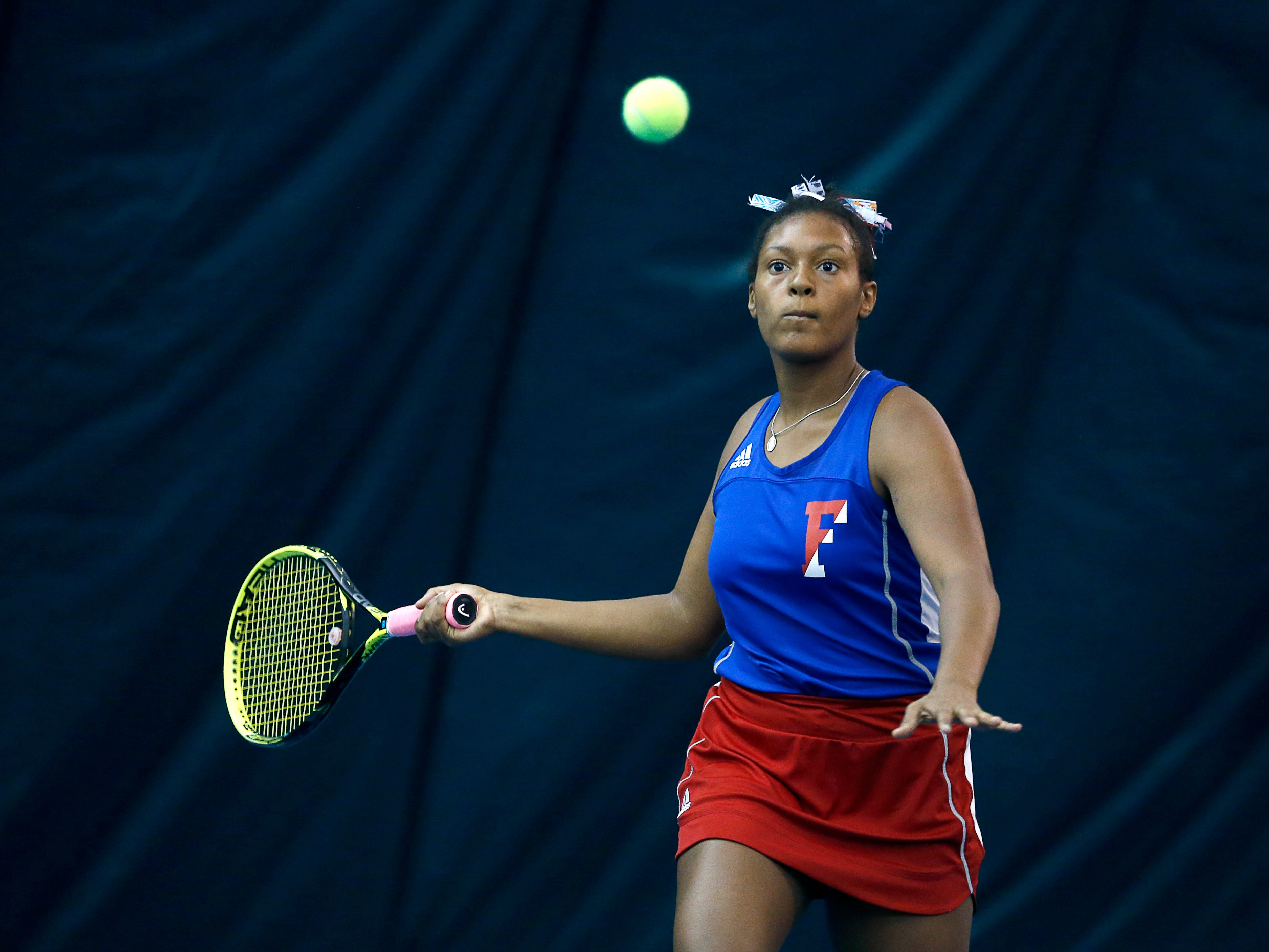 Fairport's Aliya Guzman playing for third place during the Section V Tennis State Qualifiers at Mendon Racquet & Pool Club.