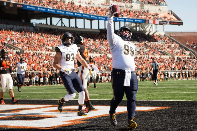 Oct 20, 2018; Corvallis, OR, USA; California Golden Bears fullback Malik McMorris (99) celebrates after catching a touchdown pass during the first half against the Oregon State Beavers at Reser Stadium. Mandatory Credit: Troy Wayrynen-USA TODAY Sports