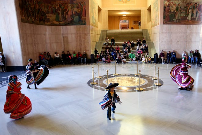 Ballet Papalotl performs traditional Mexican dance during Hispanic Heritage Day at the Oregon State Capitol on Saturday, Oct. 20, 2018.