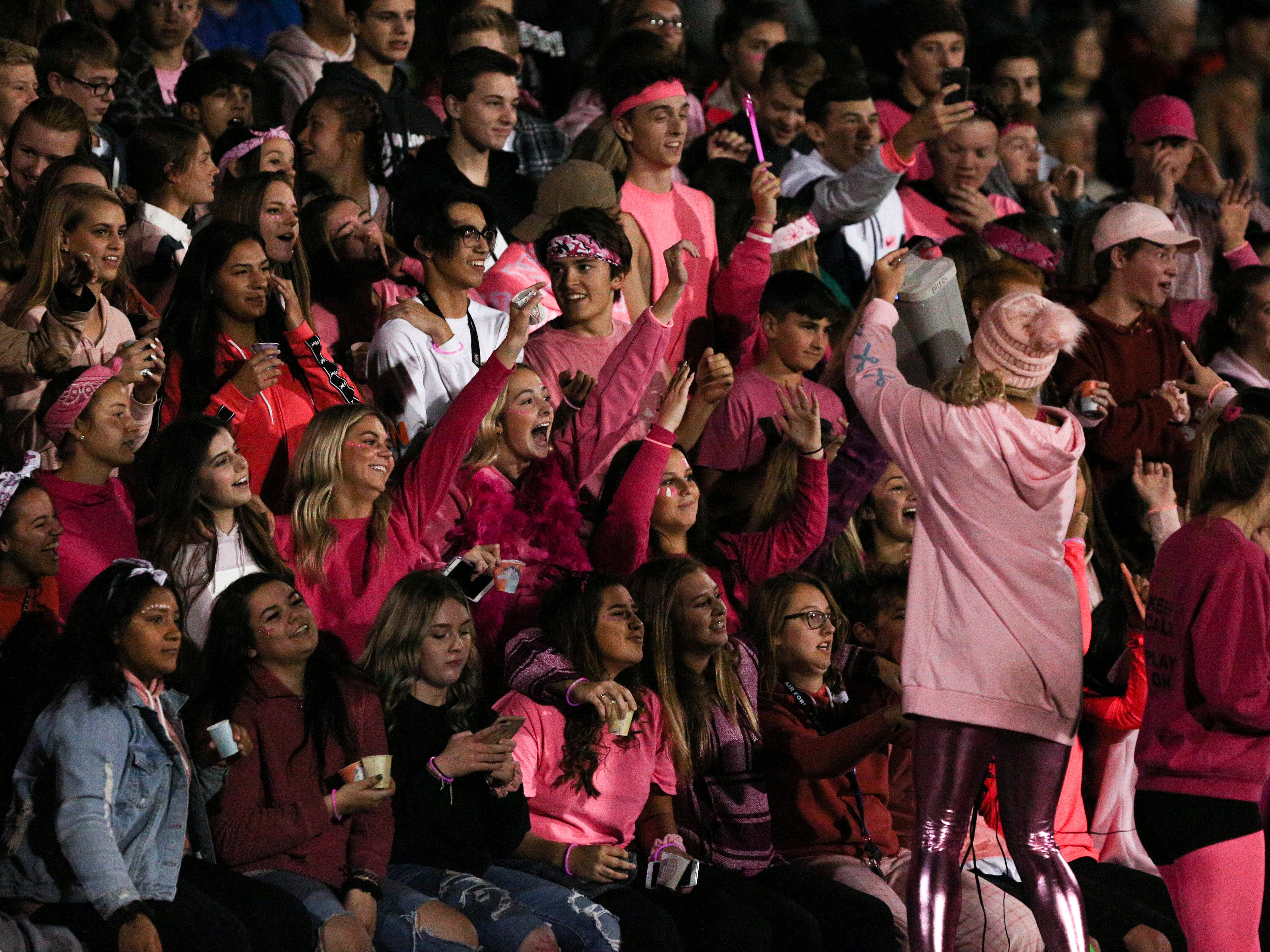West Salem's student section cheers on their team, dressed in pink for Breast Cancer Awareness month, during the first half of the McNary vs. West Salem football game at West Salem High School on Friday, Oct. 19.