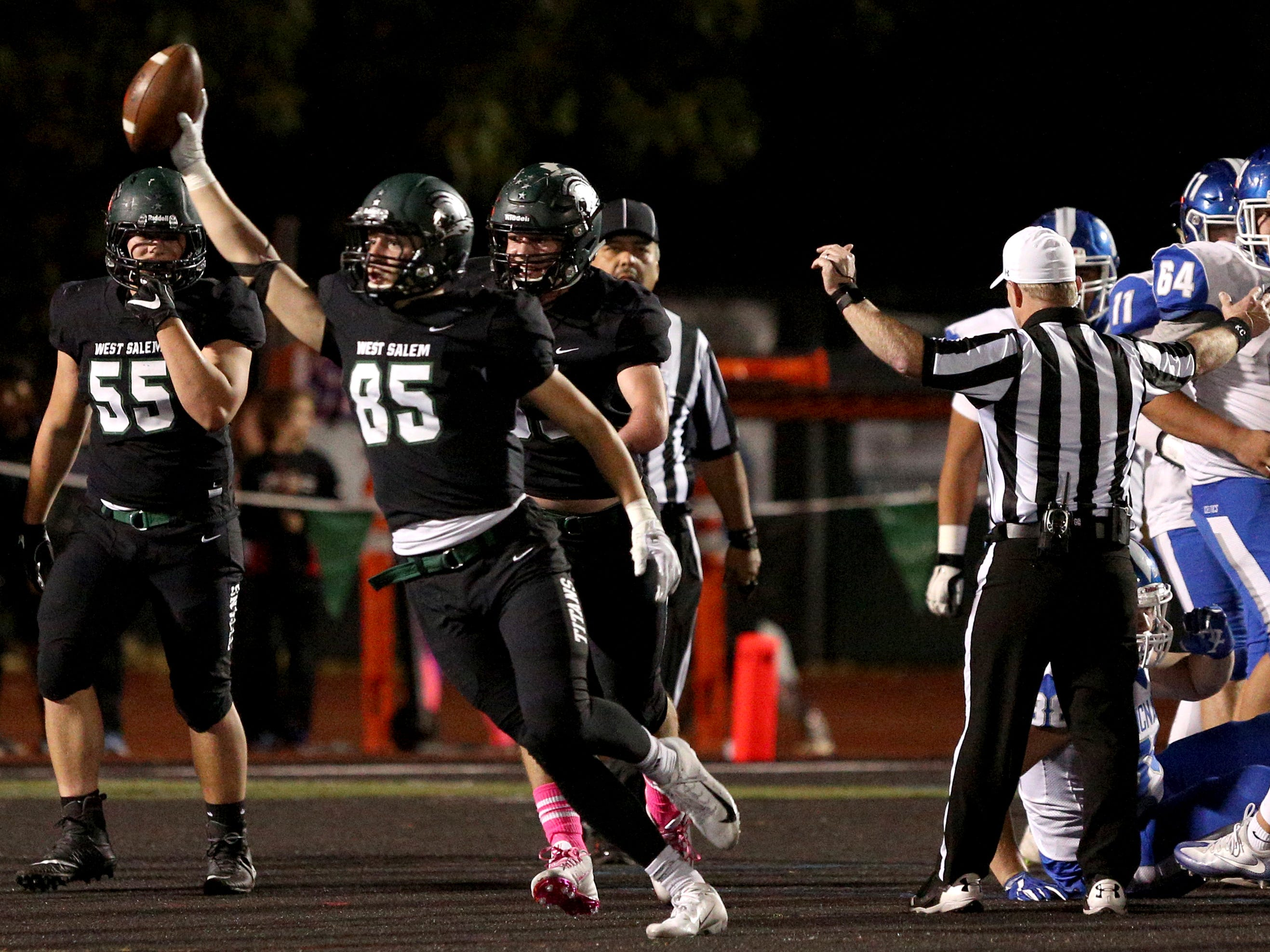 West Salem's Anthony Pugh (85) celebrates after recovering the ball during the first half of the McNary vs. West Salem football game at West Salem High School on Friday, Oct. 19.