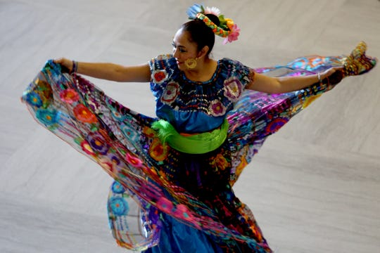 Ballet Papalotl performs traditional Mexican dance during Hispanic Heritage Day at the Oregon State Capitol on Oct. 20, 2018.