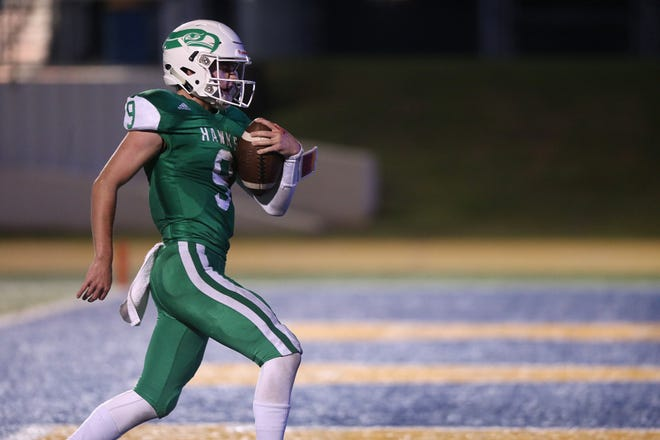 Wall quarterback Mason Fuchs (9) runs for a touchdown during the game Friday, Oct. 19, 2018, against Jim Ned at LeGrand Stadium.
