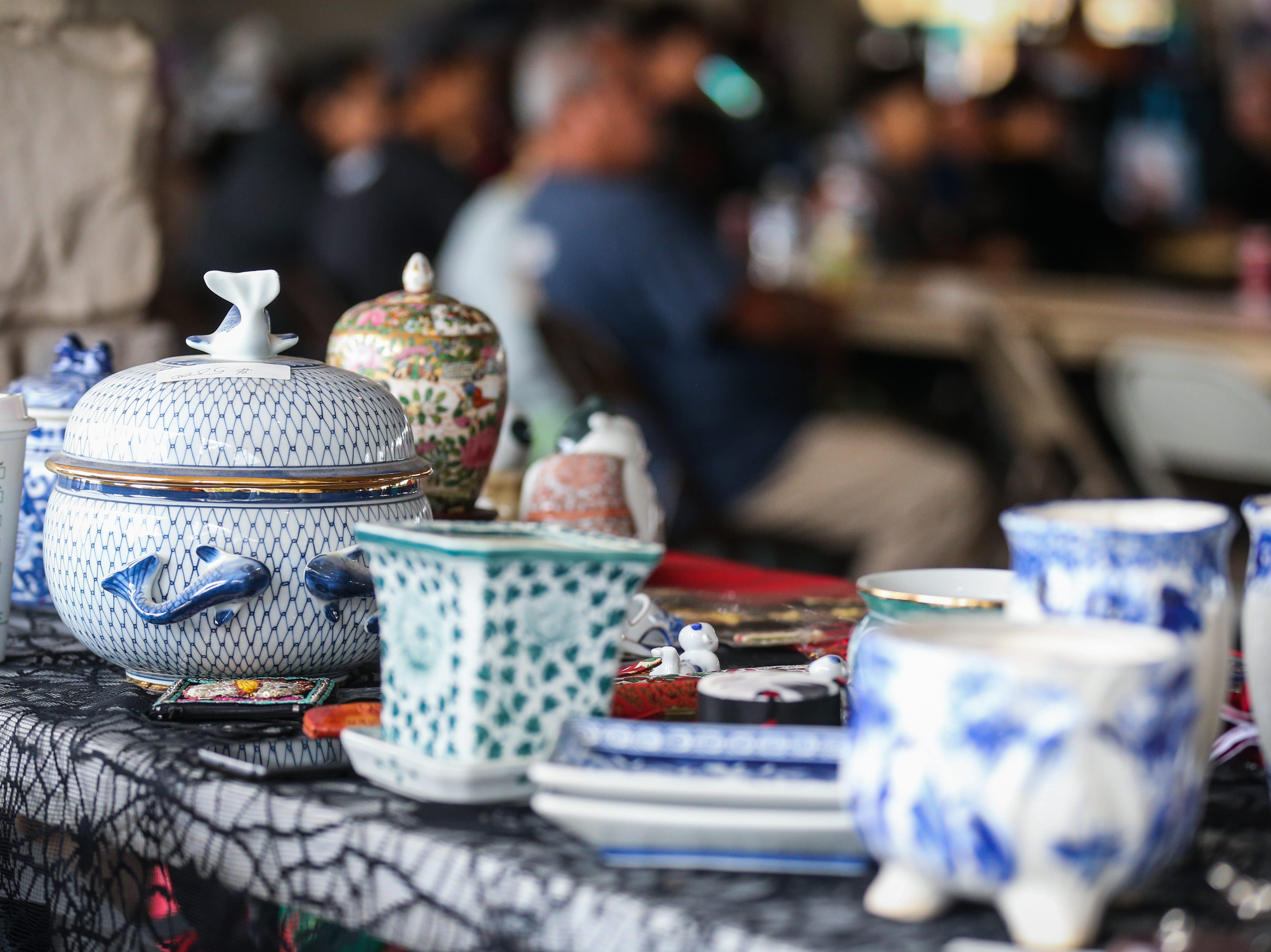 Vases in display at a booth during the Asian Bazaar Saturday, Oct. 20, 2018, at El Paseo de Santa Angela.