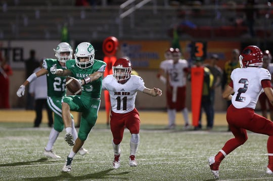 Wall's H Teplicek (#15) misses a pass during the game Friday, Oct. 19, 2018 against Jim Ned at LeGrand Stadium.