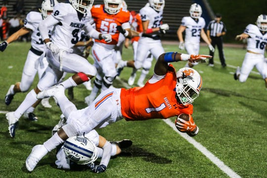 Central's Samuel Goodloe falls as he is tackled by Richland Friday, Oct. 19, 2018, at San Angelo Stadium.