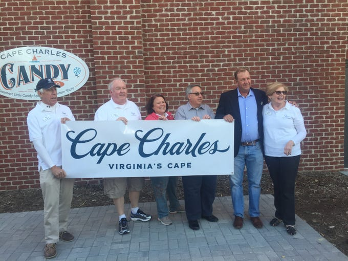 A new brand and logo for Cape Charles, Virginia is unveiled during a ceremony on Friday, Oct. 29, 2018.