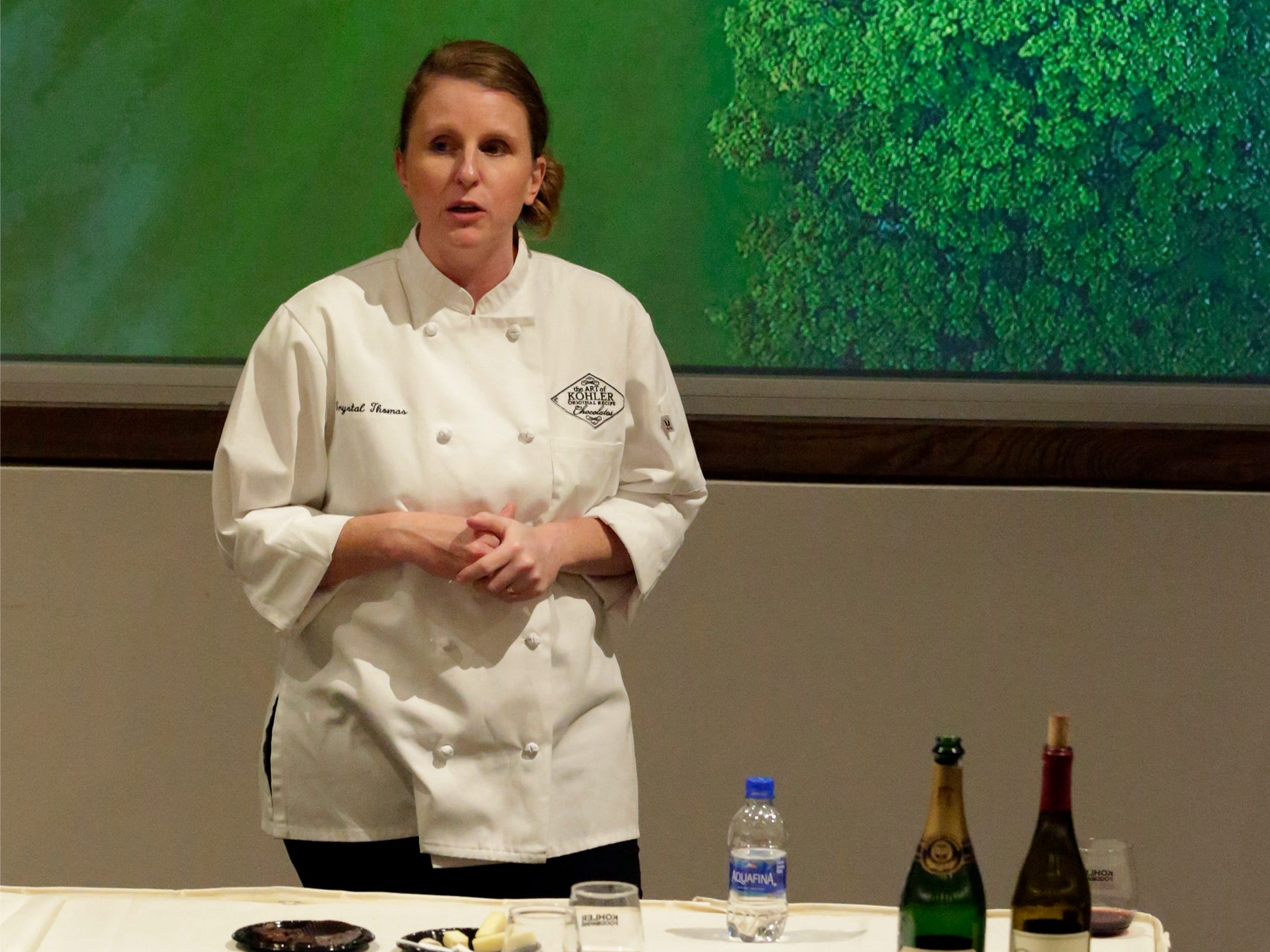 Kohler Chocolatier Crystal Thomas explains some of the nuances of chocolate, wine and cheese during a presentation at Kohler Food and Wine, Friday, October 19, 2018, in Kohler, Wis.
