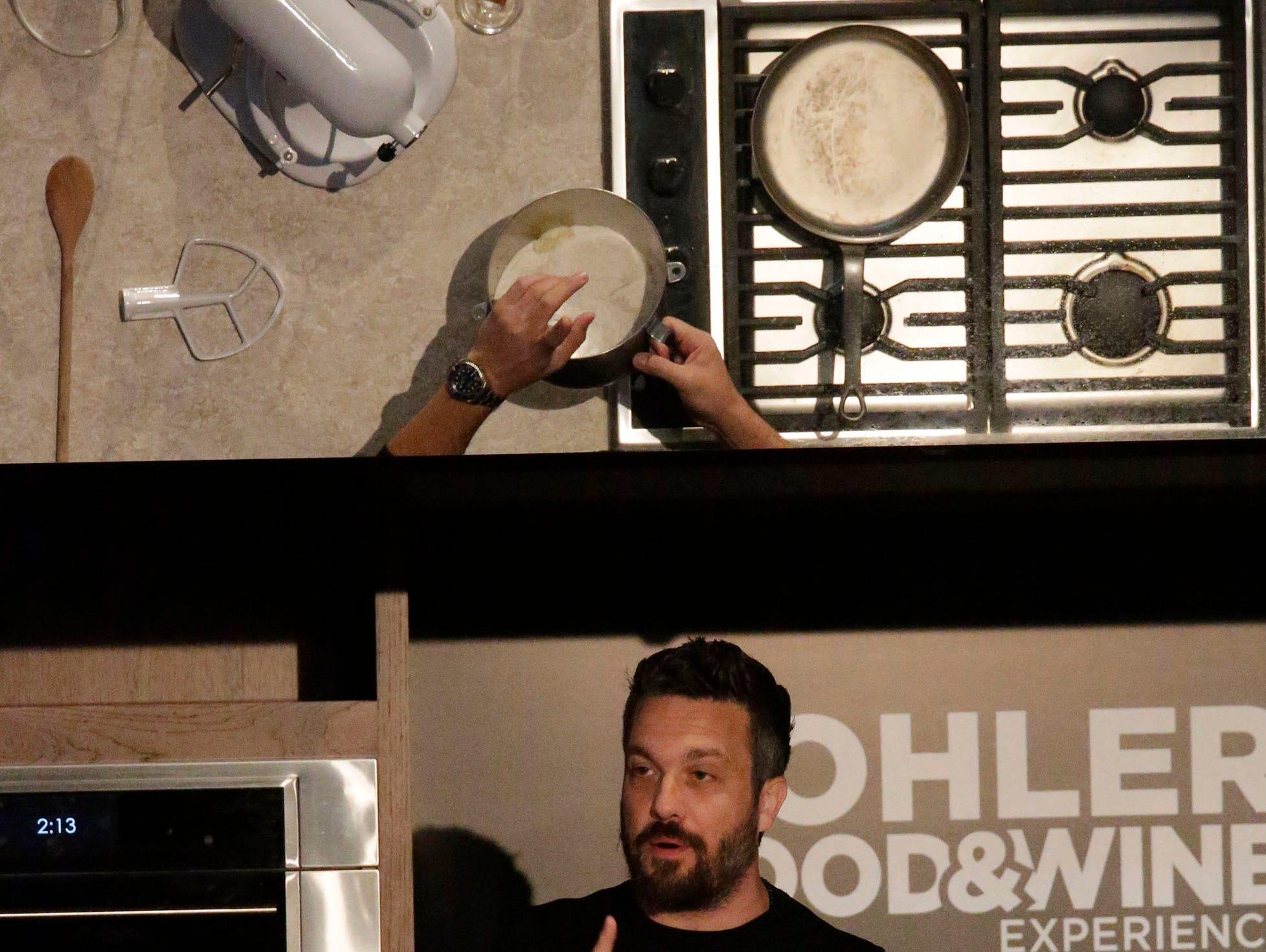 Celebrity chef Fabio Viviani explains his technique at Kohler Food and Wine, Saturday, October 20, 2018, in Kohler, Wis.