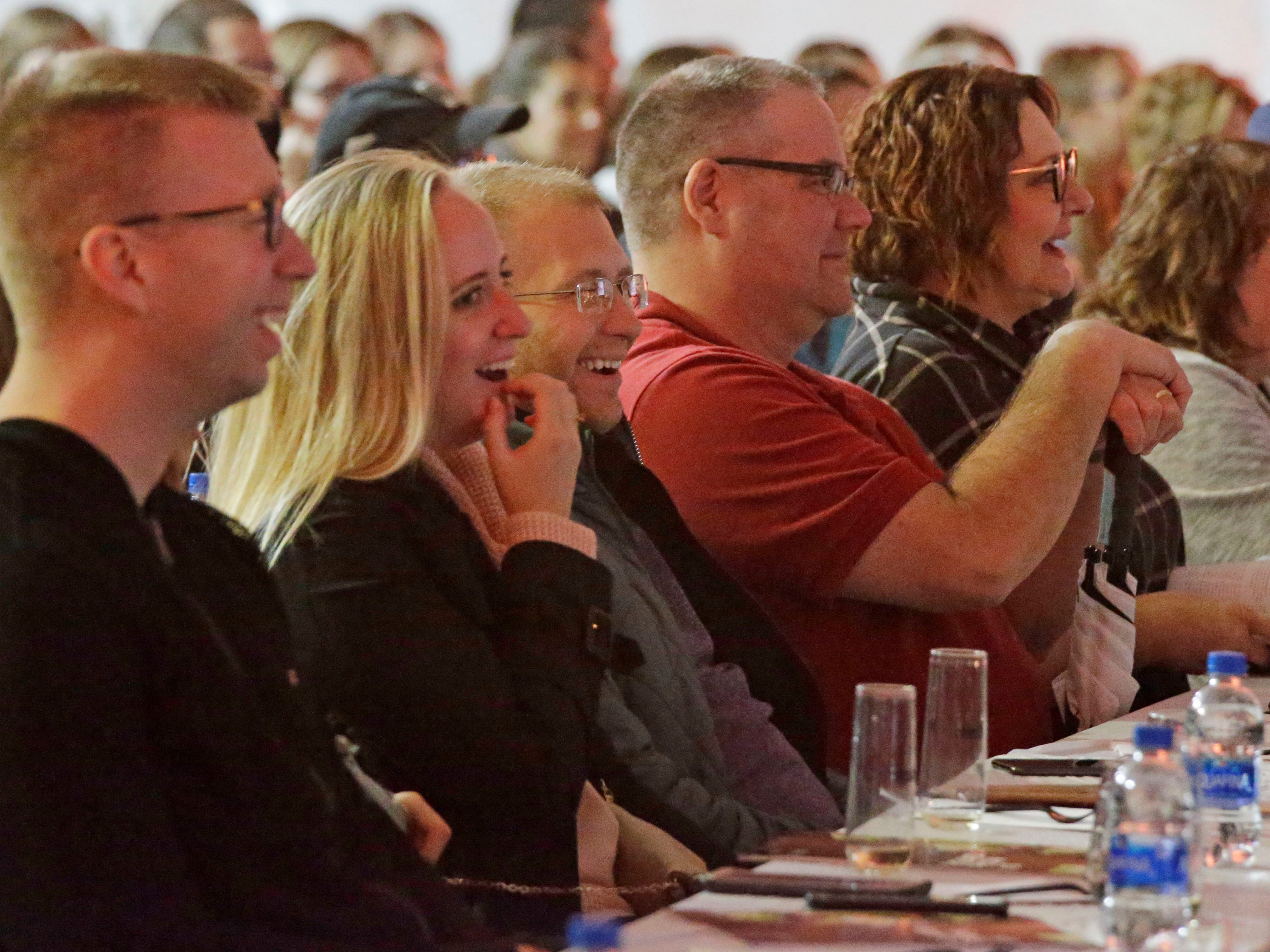 People smile during celebrity chef Fabio Viviani's presentation at Kohler Food and Wine, Saturday, October 20, 2018, in Kohler, Wis.