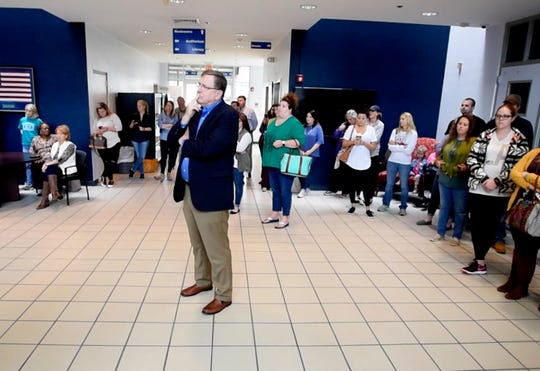 """Members of the public came out to the press conference about Aubrey """"Perry"""" Norcross Saturday afternoon, October 20, 2018 at Bossier Instructional Center."""