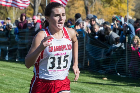 Ella Byers (315) wins the Class A girls state cross country meet at Yankton Trail Park in Sioux Falls, S.D., Saturday, Oct. 20, 2018.