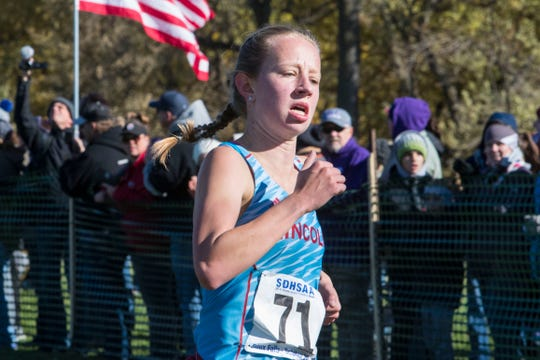 Analise Levesque (71) wins the Class AA girls state cross country meet at Yankton Trail Park in Sioux Falls, S.D., Saturday, Oct. 20, 2018.