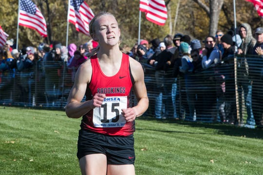Ellie Abraham (15) gets second in the Class AA girls state cross country meet at Yankton Trail Park in Sioux Falls, S.D., Saturday, Oct. 20, 2018.