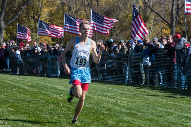 Andrew Lauer (193) comes in second in the Class AA boys state cross country meet at Yankton Trail Park in Sioux Falls, S.D., Saturday, Oct. 20, 2018.