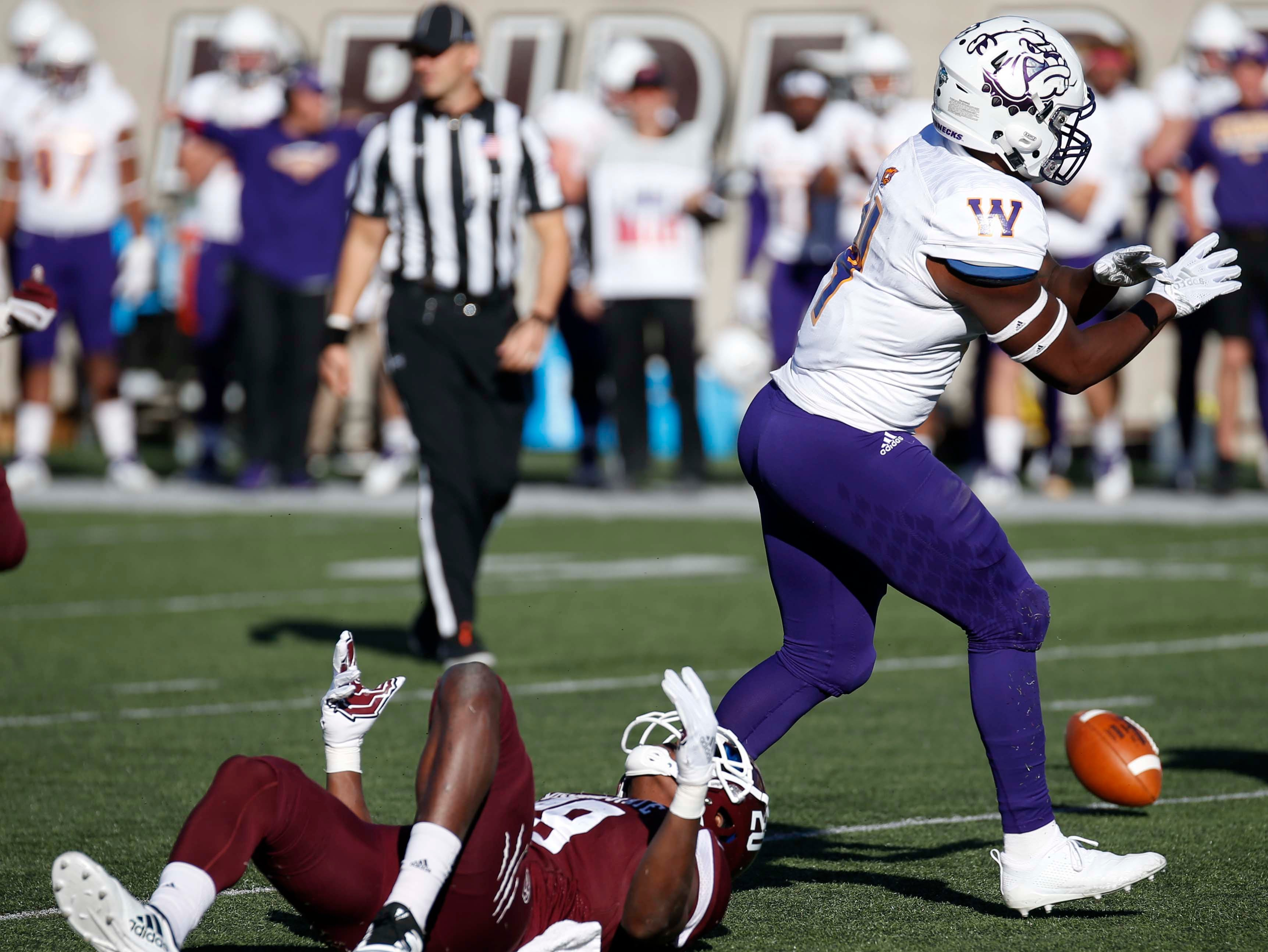 Missouri State's Antwan Woods lies on the field after missing a catch against Western Illinois at Plaster Field in Springfield on Oct. 20, 2018.