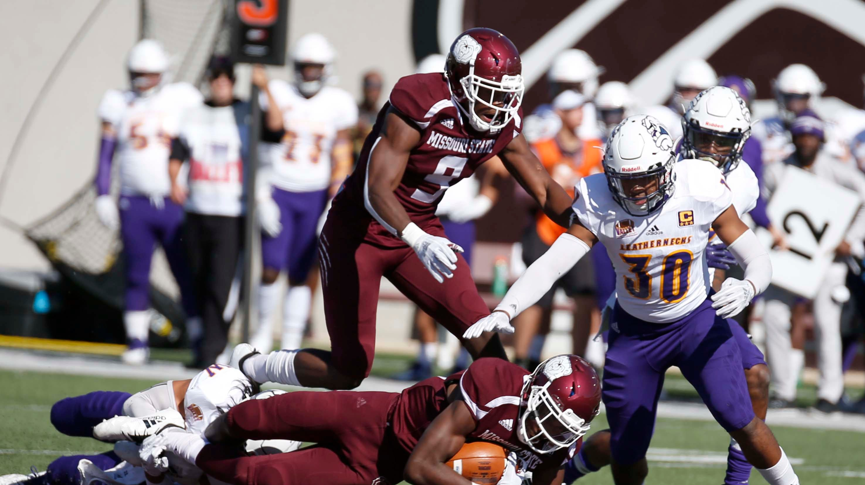 Missouri State's Lorenzo Thomas gains a first down against Western Illinois at Plaster Field in Springfield on October 20, 2018.