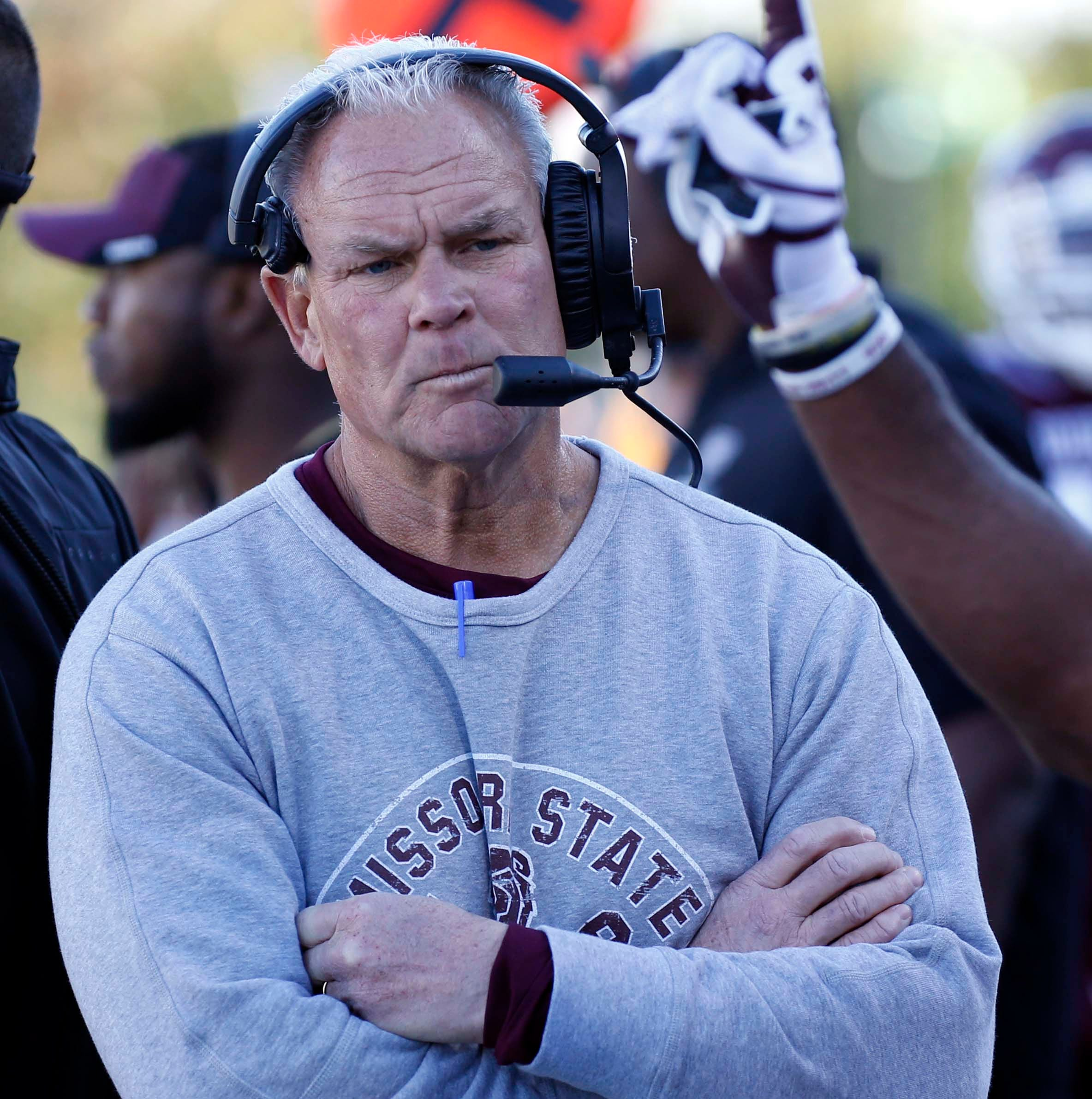 Missouri State coach Dave Steckel appearing disappointed during the Bears' loss against Western Illinois at Plaster Field in Springfield on Oct. 20, 2018.