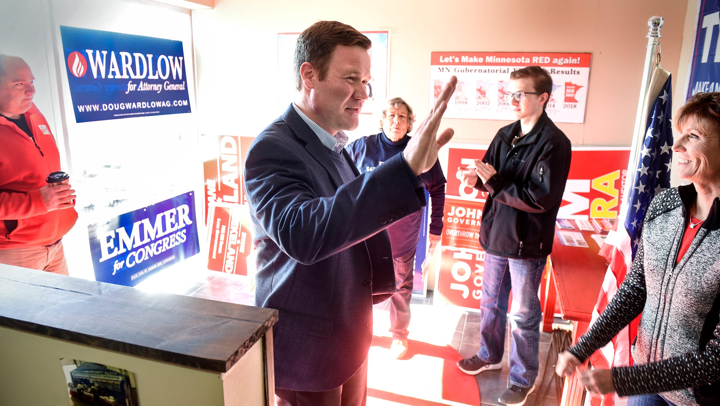 Candidate for attorney general Doug Wardlow greets supporters Saturday, Oct. 20, during a campaign stop at GOP campaign headquarters in St. Cloud.