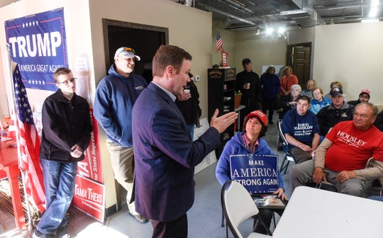 State attorney general candidate Doug Wardlow speaks Saturday, Oct. 20, during a campaign stop at GOP campaign headquarters in St. Cloud.