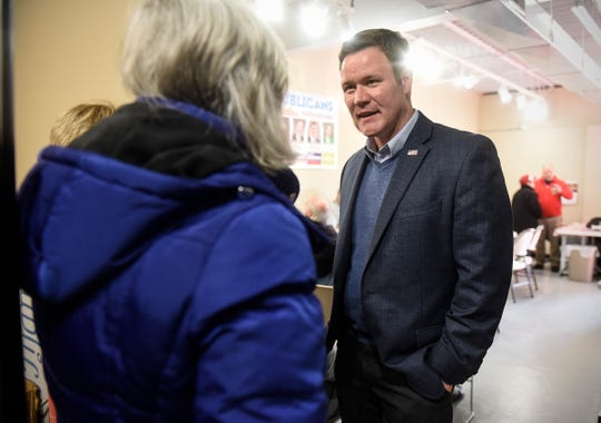 Attorney general candidate Doug Wardlow speaks with supporters Saturday, Oct. 20, during a campaign stop at GOP campaign headquarters in St. Cloud.