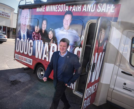 Candidate for attorney general Doug Wardlow arrives to greet supporters Saturday, Oct. 20, during a campaign stop at GOP campaign headquarters in St. Cloud.