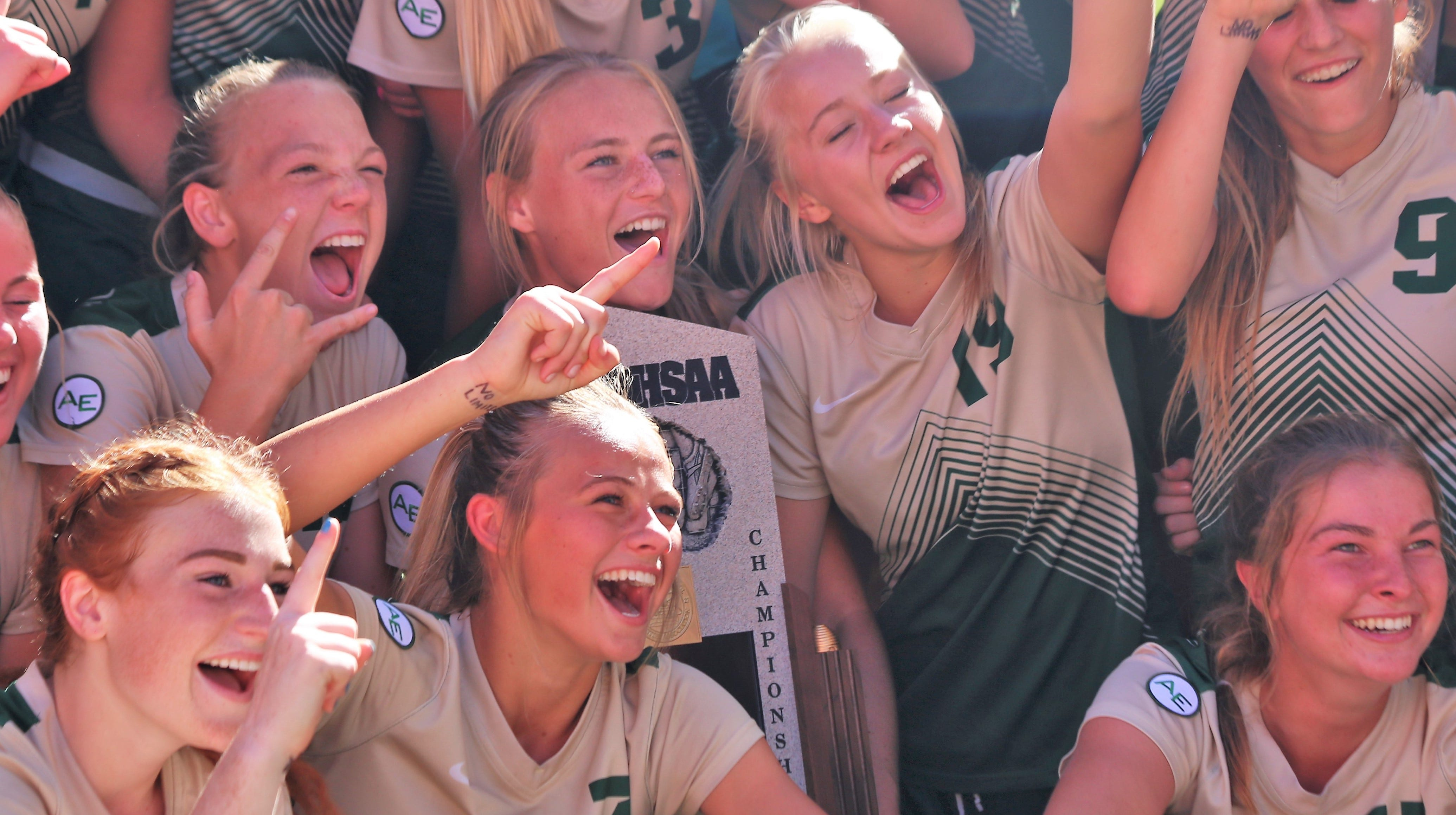 Snow Canyon celebrates after winning the 4A state soccer championship in Sandy on Oct. 20, 2018.