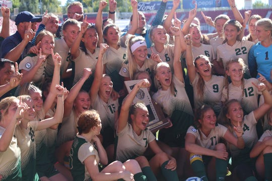 The Snow Canyon High School soccer team celebrates its 4A championship on Oct. 20, 2018.