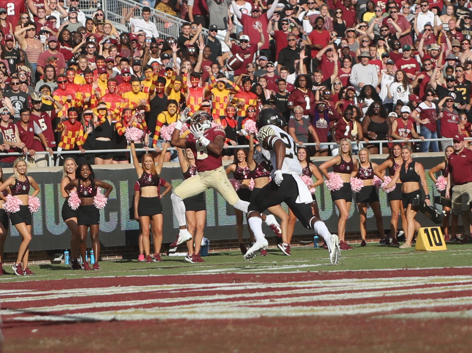 Florida State Seminoles wide receiver Nyqwan Murray (8) looks for a catch near the end zone during FSU's homecoming game against Wake Forest at Doak S. Campbell Stadium Saturday, Oct. 20, 2018.