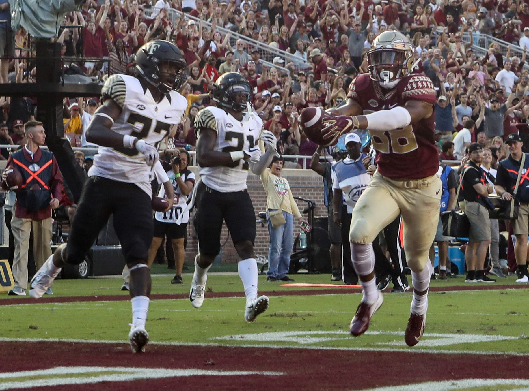 Florida State Seminoles wide receiver Tre'Shaun Harrison (88) scores a touchdown during FSU's homecoming game against Wake Forest at Doak S. Campbell Stadium Saturday, Oct. 20, 2018.