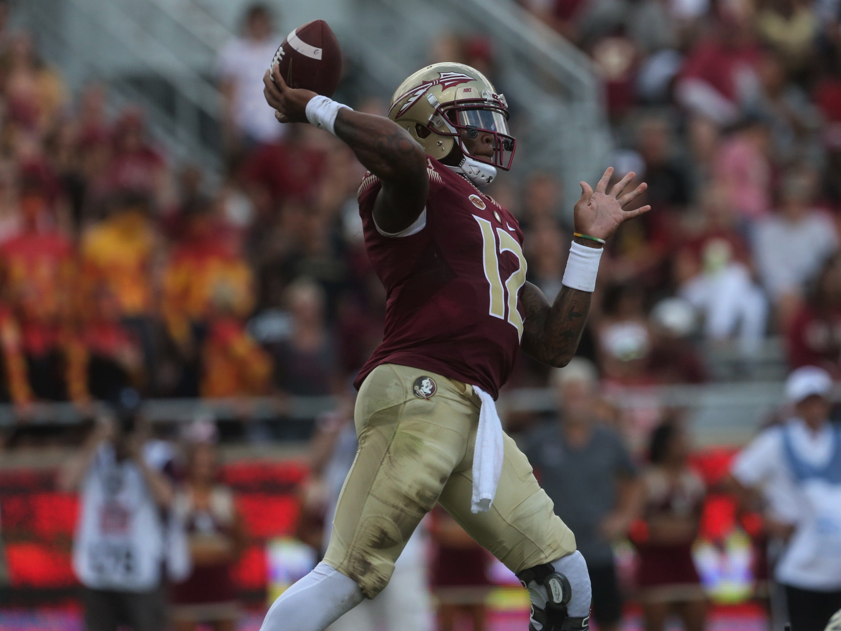 Florida State quarterback Deondre Francois drops back to pass during a game against Wake Forest at Doak Campbell Stadium on Saturday, Oct. 20, 2018.