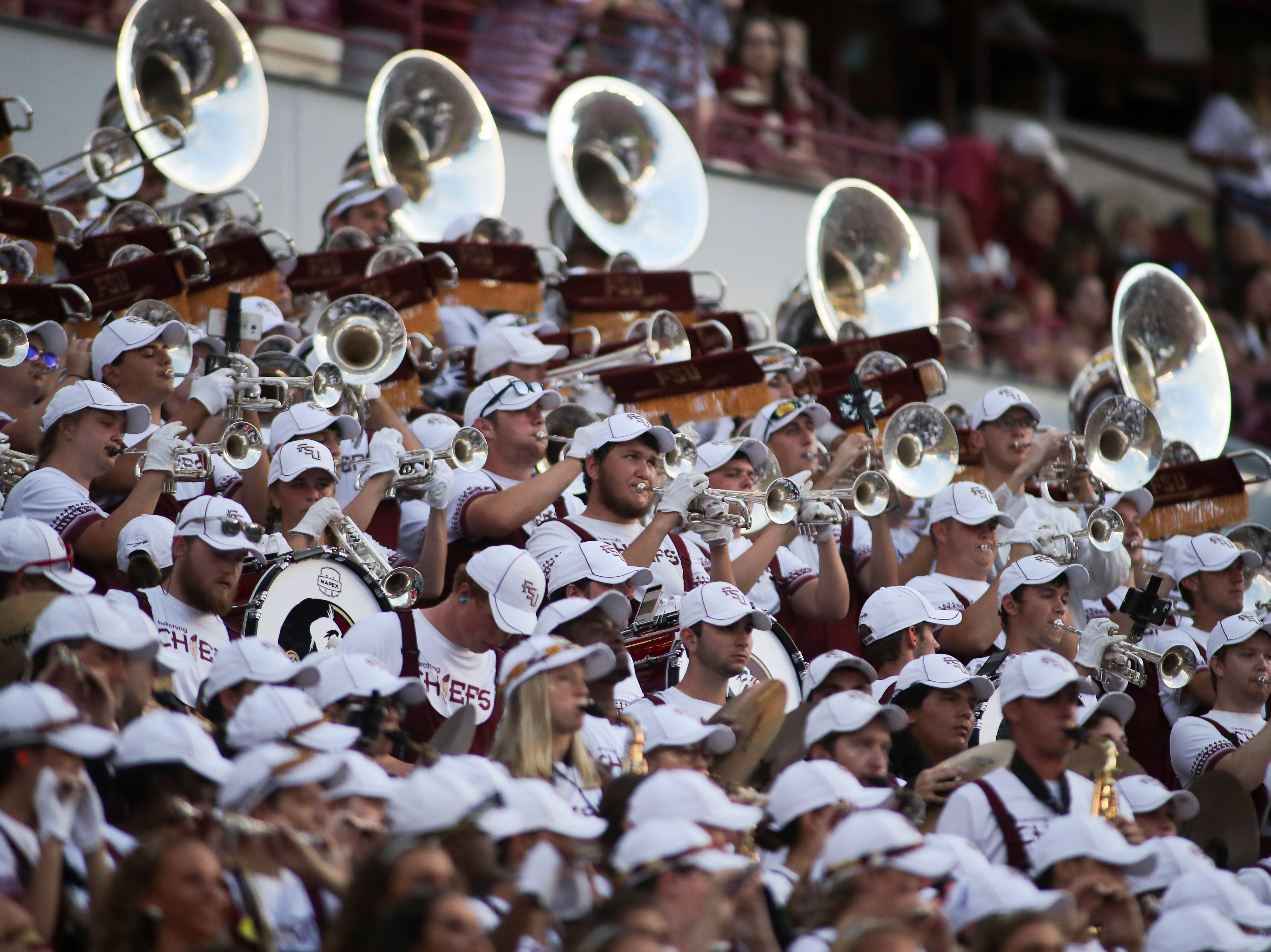 The Marching Chiefs play during FSU's homecoming game against Wake Forest at Doak S. Campbell Stadium Saturday, Oct. 20, 2018.
