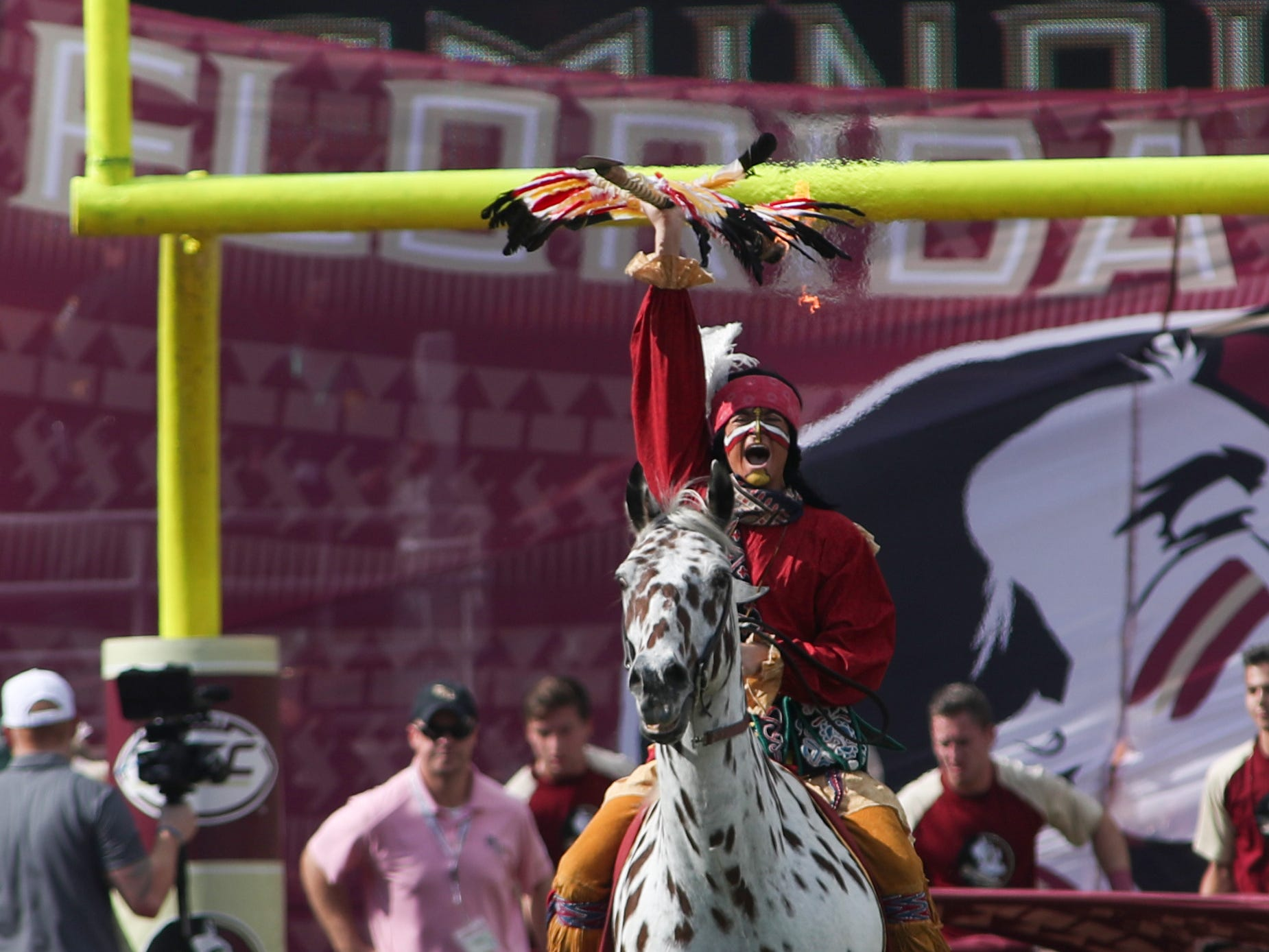 FSU's Chief Osceola and Renegade enter the field before FSU's homecoming game against Wake Forest at Doak S. Campbell Stadium Saturday, Oct. 20, 2018.