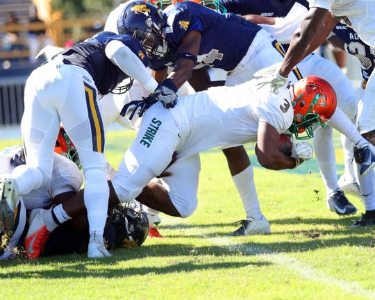 FAMU's Azende Rey goes across the goal line for a touchdown against N.C. A&T.