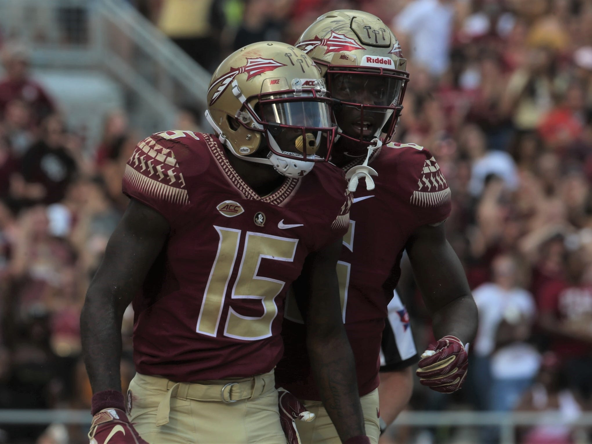 Florida State receiver Tamorrion Terry (15) celebrates with tight end Tre' McKitty after Terry thought he had a long touchdown catch during a game against Wake Forest at Doak Campbell Stadium on Saturday, Oct. 20, 2018.A flag wiped out the play.