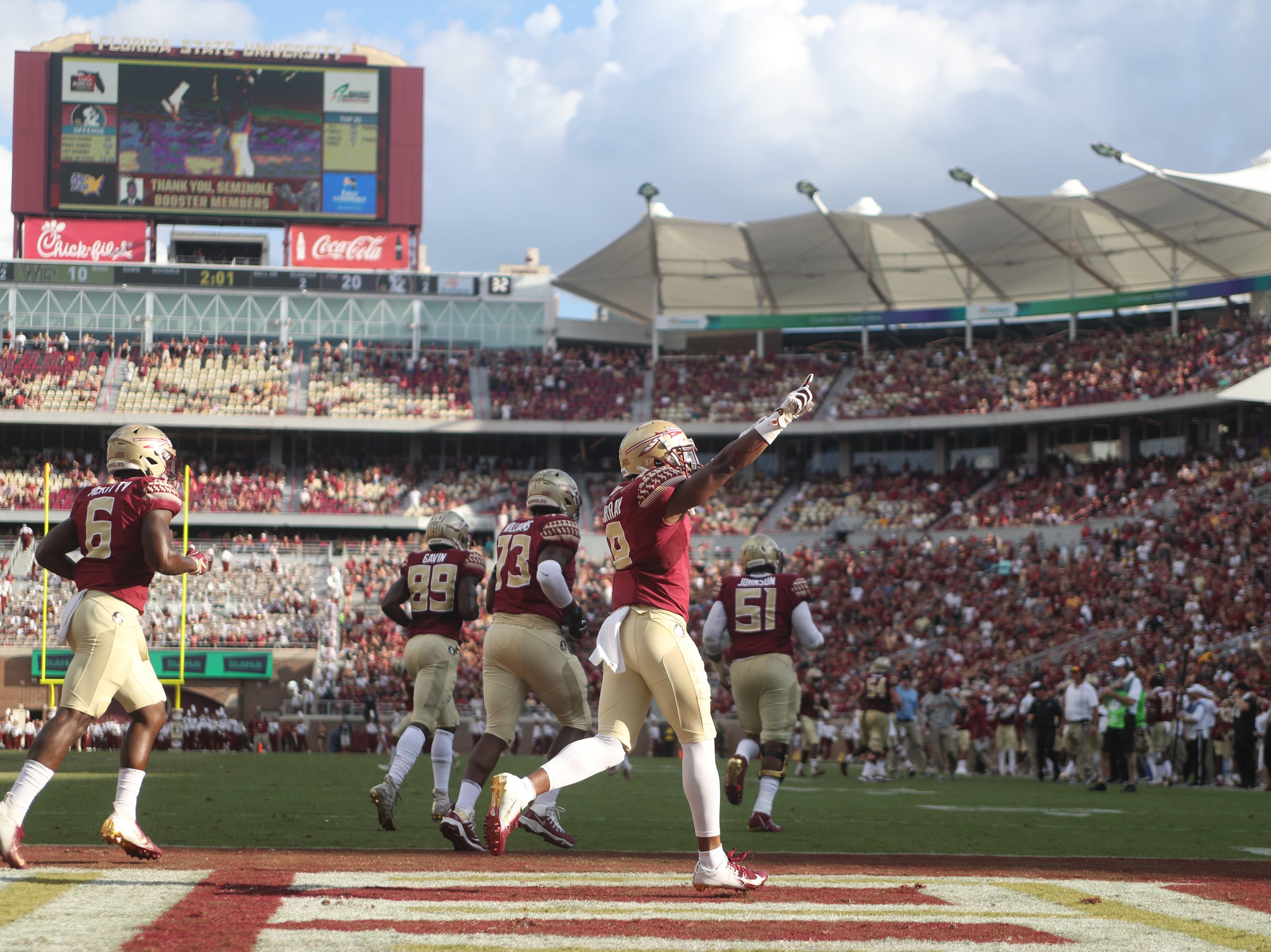 Florida State Seminoles wide receiver Nyqwan Murray (8) celebrates after scoring a touchdown during FSU's homecoming game against Wake Forest at Doak S. Campbell Stadium Saturday, Oct. 20, 2018.