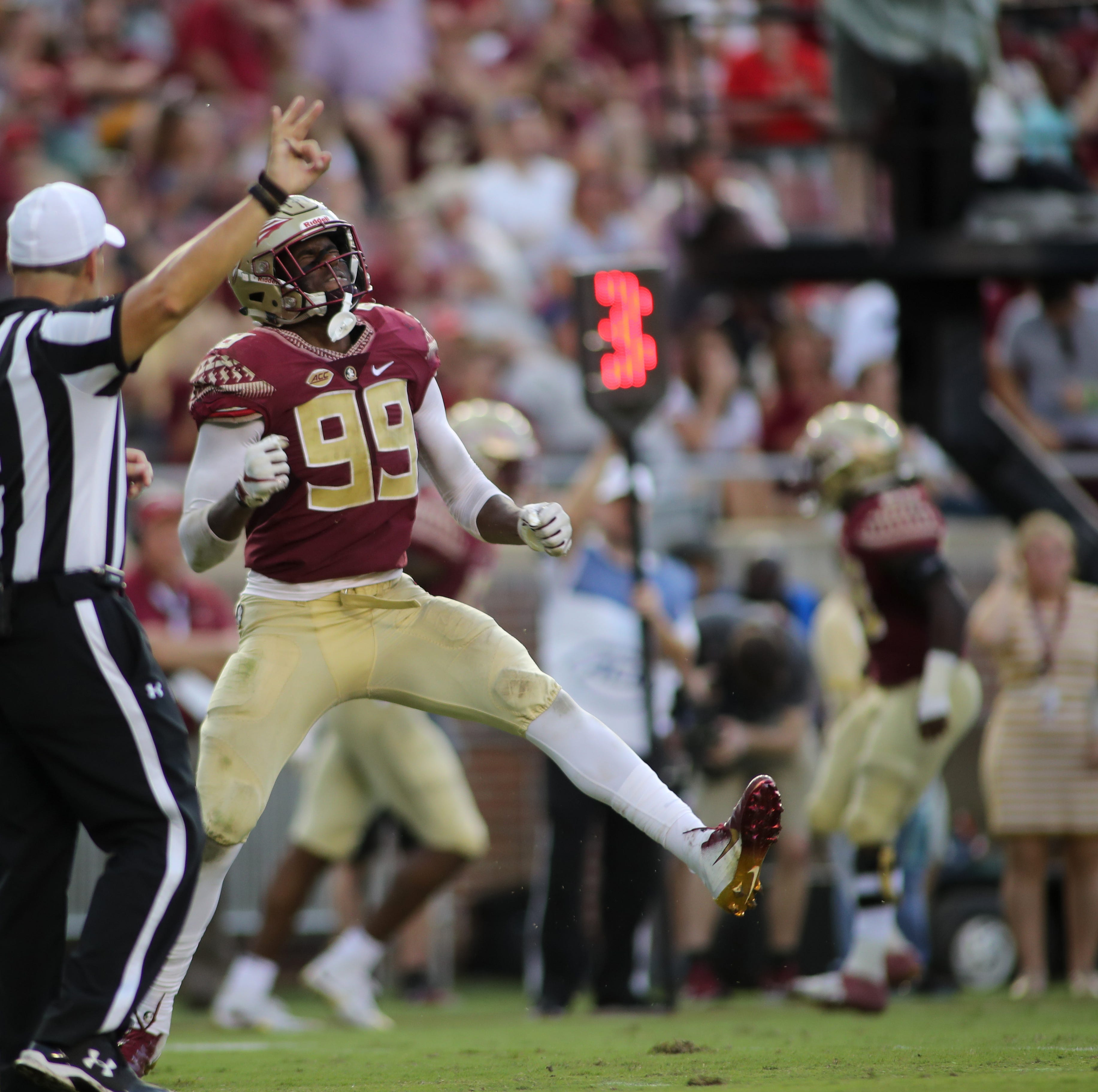 Florida State Seminoles defensive end Brian Burns (99) celebrates during FSU's homecoming game against Wake Forest at Doak S. Campbell Stadium Saturday, Oct. 20, 2018.