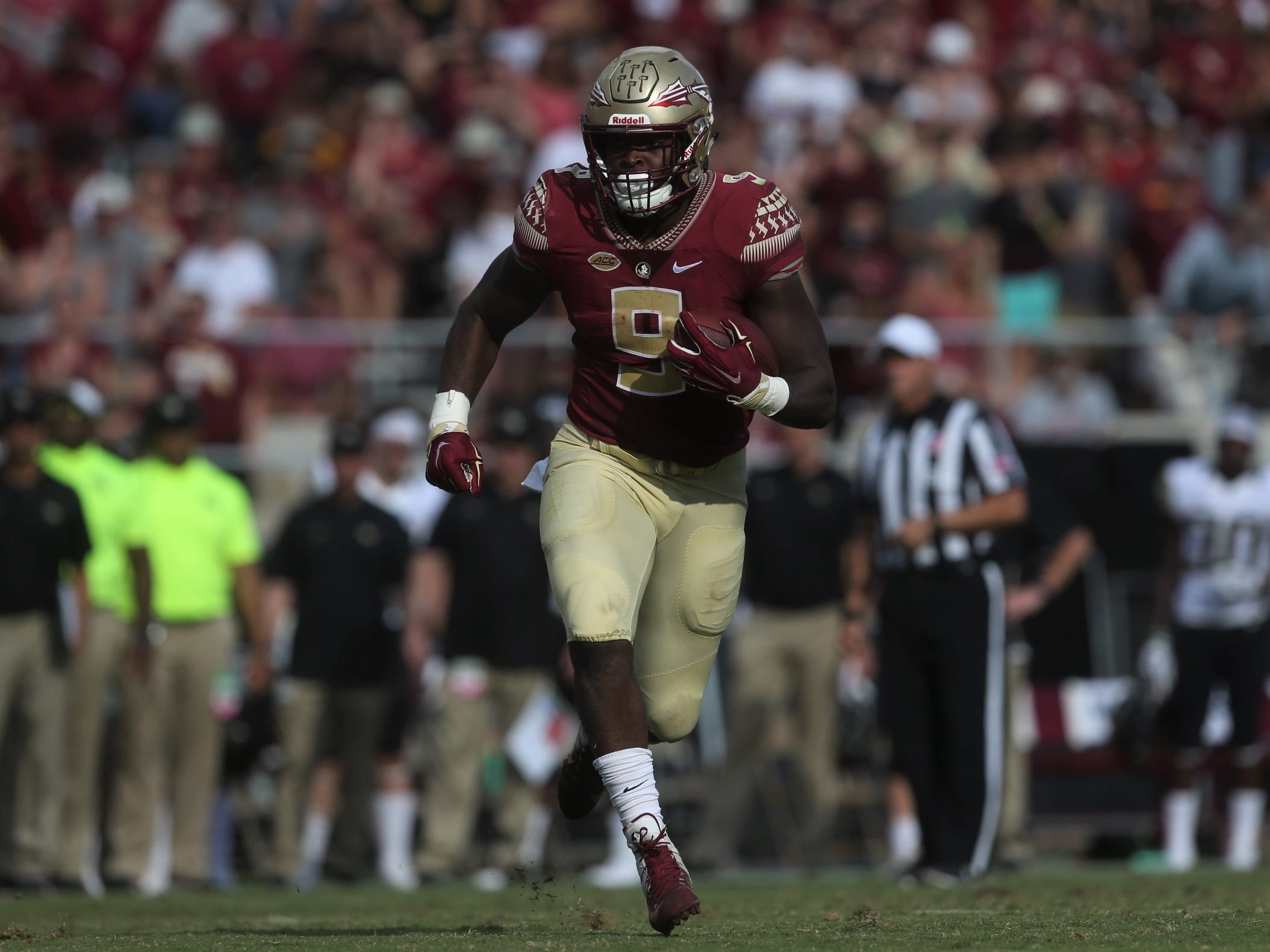 Florida State running back Jacques Patrick breaks into space on a long run, setting up his own touchdown against Wake Forest during a game at Doak Campbell Stadium on Saturday, Oct. 20, 2018.