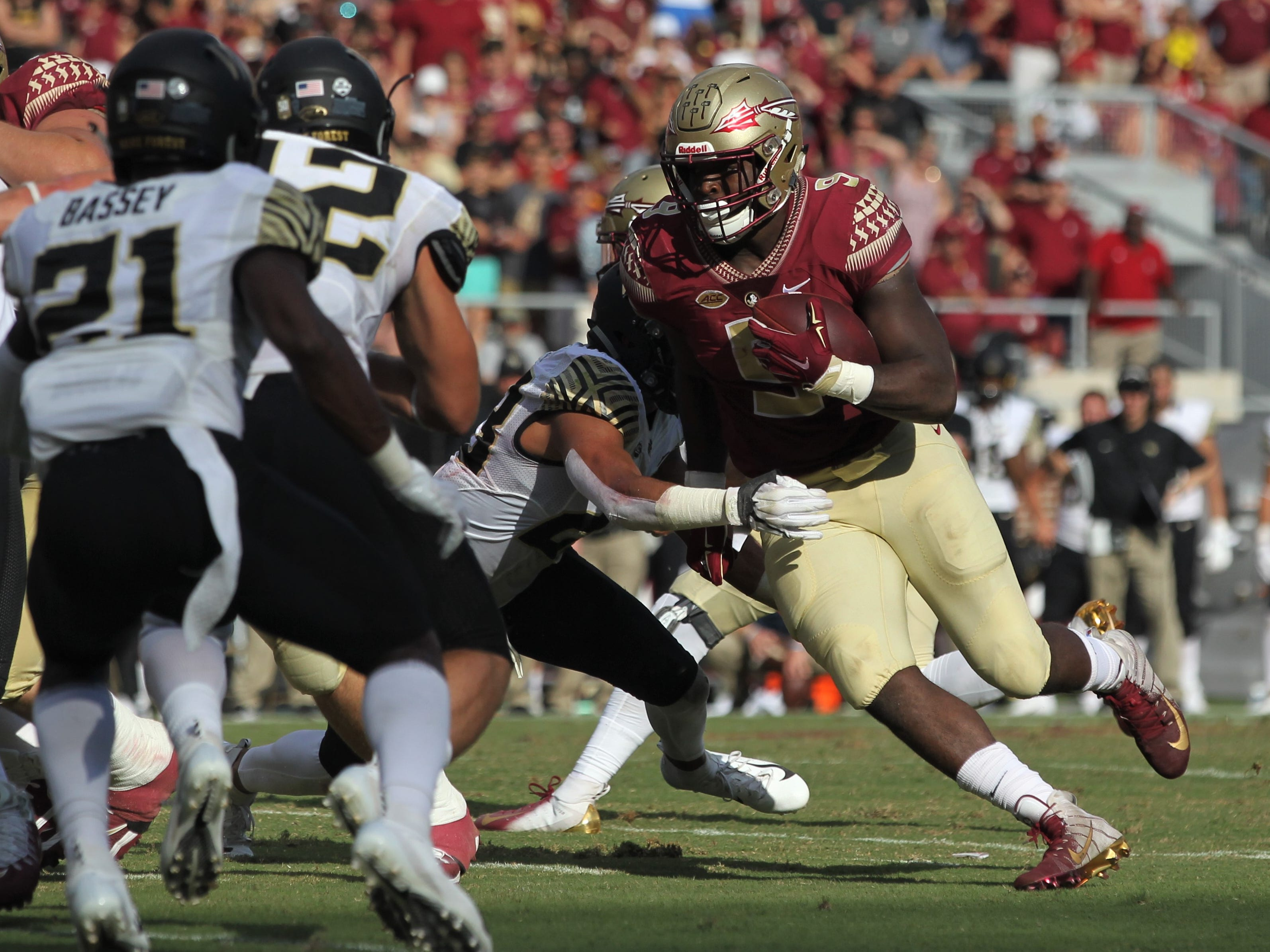 Florida State running back Jacques Patrick runs for a two-yard touchdown in the second quarter of a game against Wake Forest at Doak Campbell Stadium on Oct. 20, 2018.
